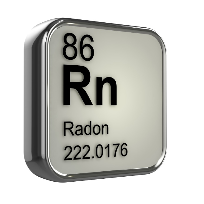 3d render of radon element from periodic table